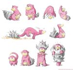 aqua_eyes commentary creature crown gem gen_1_pokemon looking_at_viewer mega_pokemon mega_slowbro mouth_hold pokemon pokemon_(creature) simple_background slowbro slowking slowpoke speed_lines standing twarda8 water wet white_background