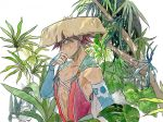 1boy blue_eyes brown_hair cape cat fuurai_no_shiren highres japanese_clothes male_focus sandogasa shiren_(fuurai_no_shiren) shirt sleeveless sleeveless_shirt solo sweat traditional_media upper_body wiping_face