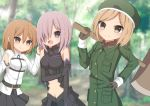 3girls :d armor armored_dress axe bare_shoulders battle_axe beret black_dress black_gloves black_skirt blurry blurry_background blush brown_eyes brown_gloves brown_hair brown_scrunchie chaldea_uniform closed_mouth day depth_of_field dress elbow_gloves fate/grand_order fate_(series) forest fujimaru_ritsuka_(female) gloves green_hat green_jacket hair_ornament hair_over_one_eye hair_scrunchie hand_on_hip hat heart heart-shaped_pupils highres holding holding_axe jacket light_brown_hair long_sleeves mash_kyrielight multiple_girls nature navel one_side_up open_mouth outdoors paul_bunyan_(fate/grand_order) pleated_skirt purple_hair sapphire_(sapphire25252) scrunchie skirt sleeveless sleeveless_dress smile sweat symbol-shaped_pupils uniform violet_eyes weapon white_jacket