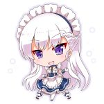 1girl :d apron azur_lane bangs belfast_(azur_lane) blue_dress blue_footwear blush braid chibi commentary_request dress elbow_gloves eyebrows_visible_through_hair frilled_apron frilled_dress frills full_body gloves head_tilt long_hair looking_at_viewer maid maid_headdress noai_nioshi open_mouth pantyhose silver_hair smile solo standing very_long_hair violet_eyes waist_apron white_apron white_background white_gloves white_legwear