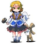 1girl absurdres arm_warmers blonde_hair doll green_eyes hammer highres mizuhashi_parsee pointy_ears scarf shinapuu short_hair short_sleeves skirt solo tears touhou
