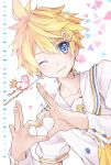 1boy 96mame artist_name blonde_hair blue_eyes blush english hair_ornament hairclip heart heart_hands kagamine_len looking_at_viewer one_eye_closed smile solo vocaloid x_hair_ornament