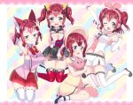 4girls :> a.i._channel alternate_hairstyle animal_ears ankle_strap aqua_eyes arm_behind_back arm_warmers armpits bangs bell black_footwear blush blush_stickers bonnet bow bowtie candy cat_ears cleavage_cutout commentary_request cosplay covering covering_breasts d-pad d-pad_hair_ornament detached_sleeves dress food hair_ornament headband highres holding_bird jingle_bell kaguya_luna kaguya_luna_(character) kaguya_luna_(character)_(cosplay) kemomimi_vr_channel kizuna_ai kizuna_ai_(cosplay) kurosawa_ruby lace_border lollipop looking_at_viewer love_live! love_live!_sunshine!! mikoko_(kemomimi_vr_channel) mikoko_(kemomimi_vr_channel)_(cosplay) mochi_hiyo mochi_hiyo_(cosplay) multiple_girls multiple_persona pleated_skirt red_neckwear red_skirt redhead ribbon-trimmed_legwear ribbon_trim rinne_(mizunosato) sailor_collar skirt socks star starry_background striped striped_background striped_neckwear thigh-highs twintails two_side_up v-shaped_eyebrows vertical-striped_background vertical_stripes virtual_youtuber white_legwear wrist_cuffs yellow_dress