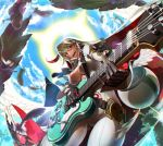 1girl :d ahoge ankh bangs belt belt_buckle black_belt black_gloves blonde_hair bodysuit breasts buckle center_opening chromatic_aberration clouds cloudy_sky cowboy_shot day eyebrows eyebrows_visible_through_hair eyelashes feathered_wings feathers from_below gloves gluteal_fold guilty_gear guilty_gear_xrd guitar hair_between_eyes halo holding holding_instrument instrument jack-o'_valentine jewelry legs_apart light_particles long_hair long_sleeves loose_belt medium_breasts midriff multicolored_hair music necklace open_mouth playing_instrument red_eyes redhead sky smile solo sparkle tanagawa_makoto teeth tongue two-tone_hair white_bodysuit white_wings wings