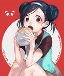 artist_request baozi bokutachi_wa_benkyou_ga_dekinai double_bun eating food furuhashi_fumino hairband mole mole_under_eye open_mouth red_eyes school_uniform skirt