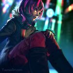 1girl allie_(fisheye_placebo) black_hair blurry blurry_background commentary fisheye_placebo highres hood hood_down hooded_jacket jacket long_hair multicolored multicolored_eyes multicolored_hair night pink_hair sitting solo two-tone_hair watermark web_address wenqing_yan zipper