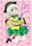 1girl :o artist_request breasts commentary_request eyebrows_visible_through_hair full_body green_eyes grey_hair heart heart_background heart_of_string highres honeycomb_(pattern) honeycomb_background komeiji_koishi midair pink_heart short_hair small_breasts solo third_eye touhou