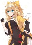 1girl alternate_costume bangs black_gloves blonde_hair blush bow breasts china_dress chinese_clothes closed_mouth dated dress eyebrows_visible_through_hair girls_frontline gloves green_eyes hair_between_eyes hair_bow hairband half_gloves hand_on_hip large_breasts long_hair long_sleeves looking_at_viewer messy_hair s.a.t.8_(girls_frontline) side_slit sidelocks signature simple_background skirt smile solo star twitter_username unel1211 very_long_hair white_background yellow_bow yellow_hairband
