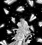 1girl black_background dress greyscale long_hair looking_up migite09 monochrome original paper_airplane profile solo stipple_coloring