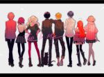 4boys 4girls akechi_gorou amamiya_ren back_turned black_legwear blazer cat floral_print hood hoodie ivxxx jacket kitagawa_yuusuke morgana_(persona_5) multiple_boys multiple_girls niijima_makoto okumura_haru pants pantyhose persona persona_5 pink_sweater plaid plaid_pants plaid_skirt print_legwear red_legwear ribbed_sweater sakamoto_ryuuji sakura_futaba shuujin_academy_uniform skirt sweater takamaki_anne the_greatest_showman thigh-highs twintails white_legwear