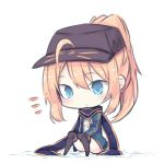 1girl artoria_pendragon_(all) bangs beni_shake black_hat black_legwear blonde_hair blue_eyes blue_jacket blue_scarf blush chibi closed_mouth commentary_request eyebrows_visible_through_hair fate/extella fate/extra fate/grand_order fate_(series) flat_cap full_body hair_between_eyes hair_through_headwear hat high_ponytail jacket long_hair long_sleeves looking_at_viewer lowres mysterious_heroine_x open_clothes open_jacket ponytail rojiura_satsuki:_chapter_heroine_sanctuary scarf shirt sitting solo track_jacket white_background white_shirt