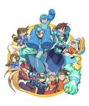 2girls 6+boys aile android arm_cannon arm_up ashe_(rockman) blonde_hair blue_eys bracelet brown_eyes brown_hair capcom carrying child closed_eyes commentary_request crossed_arms crystal gem gloves green_eyes grey_(rockman) grey_hair hand_gesture headband helmet hikari_netto holding hoshikawa_subaru_(rockman) jewelry kin_niku model_x model_z multiple_boys multiple_girls one_eye_closed open_mouth panicking robot rock_volnutt rockman rockman_(character) rockman_(classic) rockman_dash rockman_exe rockman_exe_(character) rockman_x rockman_zero rockman_zx rockman_zx_advent ryuusei_no_rockman shoulder_carry sitting smile spiky_hair teeth vent warrock weapon white_gloves x_(rockman) zero_(rockman)