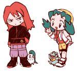 1boy 1girl blue_hair chikorita crystal_(pokemon) engsc pokemon pokemon_(game) pokemon_gsc redhead silver_(pokemon) smile totodile twintails