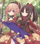 2girls :o bangs blurry blurry_background blush breasts brown_eyes brown_gloves brown_hair cleavage closed_mouth covered_navel day depth_of_field doll_joints elbow_gloves eyebrows_visible_through_hair eyepatch fan fate/grand_order fate_(series) folding_fan gloves hair_ornament hands_up highres japanese_clothes katou_danzou_(fate/grand_order) kimono kuji-in light_brown_hair long_hair long_sleeves looking_at_viewer medium_breasts miyamoto_musashi_(fate/grand_order) multiple_girls outdoors parted_lips ponytail purple_kimono sapphire_(sapphire25252) smile sparkle violet_eyes wide_sleeves