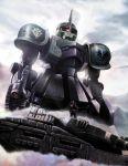 fog gun gundam gundam_zeonic_front machine_gun mecha military military_vehicle solo tank twinbell type_61_(gundam) vehicle weapon zaku zaku_i