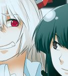 black_eyes fujiwara_no_mokou grin houraisan_kaguya lowres multiple_girls red_eyes rex rex_k smile touhou