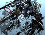 black_hair bouquet damage damaged exia flower gundam gundam_00 male mecha moto_murabito painting setsuna_f_seiei traditional_media