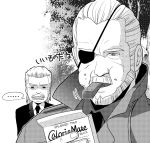 beard big_boss caloriemate eating eyepatch facial_hair food formal highres metal_gear_solid monochrome mustache necktie old_snake solid_snake suit tears