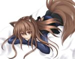 brown_hair dress fang holo long_hair lying red_eyes spice_and_wolf tail wolf_ears