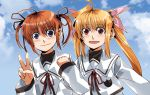 blonde_hair blue_eyes brown_hair clipe fate_testarossa long_hair mahou_shoujo_lyrical_nanoha mahou_shoujo_lyrical_nanoha_a's mahou_shoujo_lyrical_nanoha_a's multiple_girls purple_eyes red_eyes ribbon school_uniform short_hair takamachi_nanoha twintails v