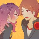 1boy 1girl :t blush brown_eyes brown_hair earrings flower hanamura_yousuke headphones heart jewelry kujikawa_rise long_hair open_mouth orange_background persona persona_4 pink_hair pout school_uniform simple_background star sweatdrop twintails wink