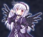 dress frills hairband long_hair mugen_xp purple_eyes rozen_maiden silver_hair suigintou violet_eyes wings