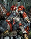 aura_battler_dunbine billbine dorasu dragon forest log mecha nature solo sword weapon