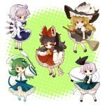 bad_id black_hair blonde_hair blue_eyes braid broom chaba_(hortensia) chibi detached_sleeves frog ghost gohei green_hair hairband hakurei_reimu hat izayoi_sakuya katana kirisame_marisa knife kochiya_sanae konpaku_youmu konpaku_youmu_(ghost) multiple_girls myon red_eyes ribbon short_hair silver_hair sword touhou twin_braids weapon witch_hat yellow_eyes