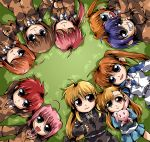 blue_eyes blue_hair braid brown_hair caro_ru_lushe chibi clipe closed_eyes erio_mondial fate_testarossa grass green_eyes grey_eyes grin hair_ribbon heterochromia long_hair lying mahou_shoujo_lyrical_nanoha mahou_shoujo_lyrical_nanoha_strikers pink_hair ponytail purple_eyes red_eyes red_hair redhead ribbon short_hair signum smile stuffed_animal stuffed_toy subaru_nakajima takamachi_nanoha teana_lanster twin_braids twintails uniform vita vivio wink yagami_hayate
