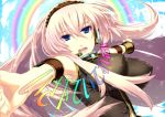 blue_eyes breasts double_lariat_(vocaloid) headband headphones impossible_clothes impossible_shirt large_breasts long_hair megurine_luka peach-tea pink_hair rainbow shirt singing vocaloid