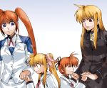 blue_eyes brown_hair clipe fate_testarossa hand_holding holding_hands long_hair mahou_shoujo_lyrical_nanoha mahou_shoujo_lyrical_nanoha_a's mahou_shoujo_lyrical_nanoha_a's mahou_shoujo_lyrical_nanoha_strikers military military_uniform purple_eyes red_eyes ribbon school_uniform short_hair side_ponytail takamachi_nanoha time_paradox twintails uniform very_long_hair