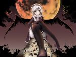 clouds crossed_legs garters gothic mogmog moon night shoes silver_hair sitting skull sky thigh-highs thighhighs wings