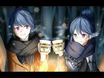 artist_request blue_hair bonfire closed_mouth dual_persona hair_bun jitome night older outdoors ramen scarf shawl shima_rin striped striped_scarf toast_(gesture) violet_eyes yurucamp