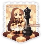 1girl :d argyle artist_name bangs black_legwear brown_eyes brown_hair checkerboard_cookie checkered checkered_dress chess_piece chibi commentary cookie dav-19 dress eyebrows_visible_through_hair food lace_background light_brown_hair long_hair long_sleeves looking_at_viewer multicolored_hair no_shoes open_mouth original pantyhose personification puffy_short_sleeves puffy_sleeves queen_(chess) short_over_long_sleeves short_sleeves smile solo standing very_long_hair watermark web_address wide_sleeves
