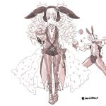 1boy 1girl alternate_costume alternate_hairstyle animal_ears bow bowtie brother_and_sister cleavage_cutout coattails easter_egg egg fake_animal_ears fire_emblem fire_emblem_heroes gloves greyscale holding insarability mask monochrome mysterious_man_(fire_emblem) pantyhose rabbit_ears siblings simple_background twintails twitter_username veronica_(fire_emblem) white_background