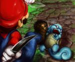 1boy barbed_wire brown_hair commentary commentary_request creature dagger eye_contact facial_hair from_above gen_1_pokemon geregere_(lantern) gloves grass hat highres holding holding_dagger holding_weapon looking_at_another lying mario mario_(series) mustache on_back open_mouth outdoors pink_eyes pokemon pokemon_(creature) red_hat scared shoes squirtle super_smash_bros. weapon white_gloves