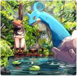 1girl bag beanie black_hair crossed_arms grass handbag hat lapras lily_pad litten mizuki_(pokemon_sm) pokemon pokemon_(creature) pokemon_(game) pokemon_sm red_hat ririmon short_hair sitting tree water z-ring