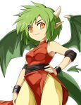 1girl bracelet cowboy_shot draco_centauros dragon_girl dragon_tail dragon_wings green_hair hand_on_hip horns jewelry light_smile madou_monogatari maguro_(mawaru_sushi) orange_eyes pants pointy_ears puyopuyo short_hair simple_background slit_pupils solo tail white_background wings