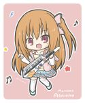 1girl :d asahina_momoko bangs beamed_semiquavers blue_skirt blush bow brown_hair camisole character_name chibi clothes_writing collarbone commentary_request eyebrows_visible_through_hair girlfriend_(kari) hair_between_eyes hair_bow holding holding_instrument hood hood_down instrument keytar layered_skirt long_hair long_sleeves looking_at_viewer musical_note one_side_up open_mouth pink_bow pink_hoodie quaver rinechun shoes skirt smile solo standing standing_on_one_leg star thigh-highs treble_clef very_long_hair white_footwear white_legwear yellow_camisole