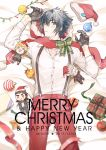 1boy black_gloves black_hair blurry blush bow character_doll christmas christmas_lights christmas_ornaments depth_of_field final_fantasy final_fantasy_xv gift gladiolus_amicitia gloves hat hat_removed headwear_removed ignis_scientia looking_at_viewer lying_on_bed male_focus mintgreen0913 noctis_lucis_caelum prompto_argentum santa_hat scarf solo suspenders