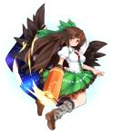>:/ 1girl arm_cannon bow brown_hair cape full_body hair_bow loafers long_hair looking_at_viewer looking_back maguro_(mawaru_sushi) red_eyes reiuji_utsuho shoes simple_background solo touhou very_long_hair weapon white_background wings