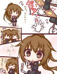 1girl :d =_= bangs black_serafuku black_shirt black_skirt blowing blush brown_eyes brown_hair closed_eyes closed_mouth comic commentary_request crescent crescent_moon_pin eyebrows_visible_through_hair flying_sweatdrops fumizuki_(kantai_collection) hair_between_eyes hammer high_ponytail holding holding_hammer kantai_collection komakoma_(magicaltale) long_hair long_sleeves nail necktie open_mouth parted_lips pleated_skirt ponytail school_uniform serafuku shirt skirt smile translation_request trembling very_long_hair wavy_mouth white_neckwear ||_||
