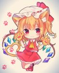 1girl :3 animal_ears ascot bent_elbows bent_knees blonde_hair cat_ears cat_tail collared_shirt commentary_request eyebrows_visible_through_hair eyes_visible_through_hair flandre_scarlet frilled_shirt_collar frilled_skirt frills full_body gem gloves gradient gradient_background hair_ribbon hands_up hat hat_ribbon highres hoshino_yura kemonomimi_mode light_blush looking_at_viewer medium_hair mob_cap one_side_up paw_background paw_gloves paw_print paws petticoat puffy_short_sleeves puffy_sleeves red_eyes red_footwear red_ribbon red_skirt red_vest ribbon shirt short_sleeves skirt socks solo tail thick_eyebrows touhou twitter_username vest white_legwear white_shirt wings yellow_neckwear