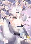 1girl absurdres animal_ears artist_name azur_lane bangs bare_shoulders blue_eyes blunt_bangs breasts cherry_blossoms flower fox_ears fox_mask fox_tail highres holding holding_mask japanese_clothes kaga_(azur_lane) kumei looking_back mask mask_removed medium_breasts multiple_tails nape obi off_shoulder parted_lips sash short_hair shoulder_blades solo tail tassel white_hair wide_sleeves
