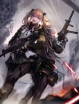 2girls 404_logo_(girls_frontline) absurdres ankle_boots armband back-to-back bangs black_gloves black_jacket black_legwear blush boots bow brown_eyes brown_hair cityscape closed_mouth clouds cloudy_sky eyebrows_visible_through_hair fingerless_gloves fire floating_hair from_below girls_frontline gloves gun h&k_ump h&k_ump45 h&k_ump9 hair_between_eyes hair_bow hair_ornament hair_ribbon hairclip heckler_&_koch highres holding holding_gun holding_weapon hood hooded_jacket jacket knee_pads lamppost light_particles long_hair looking_at_viewer magazine_(weapon) multiple_girls one_side_up open_mouth pantyhose pleated_skirt pouch rad ribbon ruins scar scar_across_eye scarf shirt sidelocks sign skirt sky smile submachine_gun suppressor thigh_strap trigger_discipline twintails ump45_(girls_frontline) ump9_(girls_frontline) walkie-talkie weapon white_shirt yellow_eyes