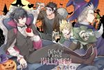 4boys animal_ears apple bat black_hair blonde_hair bow bowtie brown_hair cape carrot collar fangs final_fantasy final_fantasy_xv flail food frankenstein's_monster fruit full_moon gladiolus_amicitia glasses gloves green_eyes gun halloween hat ignis_scientia jack-o'-lantern male_focus mintgreen0913 moon morning_star multiple_boys noctis_lucis_caelum prompto_argentum red_eyes skull stitches tail tongue tongue_out vampire vest waistcoat weapon witch_hat wolf_ears wolf_tail