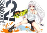 1girl absurdres anchor_print bike_shorts black_shorts boots breasts chains choker cleavage commentary_request copyright_name double_vertical_stripe emblem explosive full_body glasses grenade grey_footwear hair_ornament hairclip hero_shot_(splatoon_2) highres holding holding_weapon inkling_(language) kurokami_(kurokaminohito) long_sleeves looking_at_viewer no_bra original paint_splatter parted_lips print_shirt red-framed_eyewear red_choker semi-rimless_eyewear shirt shorts solo splatoon splatoon_2 squatting squid trigger_discipline under-rim_eyewear violet_eyes weapon white_hair white_shirt