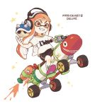 1girl bangs bike_shorts black_shorts blunt_bangs copyright_name cross-laced_footwear driving full_body gomi_(kaiwaresan44) grin ground_vehicle headphones holding inkling inkling_(language) inkstrike_(splatoon) jet_engine long_hair mario_(series) mario_kart mario_kart_8 motor_vehicle orange_eyes orange_hair pointy_ears print_shirt purple_footwear riding shirt shoes short_sleeves shorts single_vertical_stripe sitting smile sneakers solo spiked_shell spikes splatoon star t-shirt tentacle_hair white_shirt