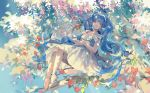 1girl bangs blue_eyes blue_hair branch choker collarbone dress frills full_body hands_together hatsune_miku high_heels highres leaf long_hair looking_to_the_side rrr_(reason) sitting sleeveless solo tree twintails very_long_hair vocaloid white_dress white_footwear white_neckwear