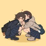 2girls bag bag_charm blush bookbag brown_hair charm_(object) cheek_pinching closed_eyes headphones headphones_around_neck heart hood hooded_jacket jacket loafers m_k multiple_girls original pinching shoes short_hair skirt sneakers squatting yellow_background